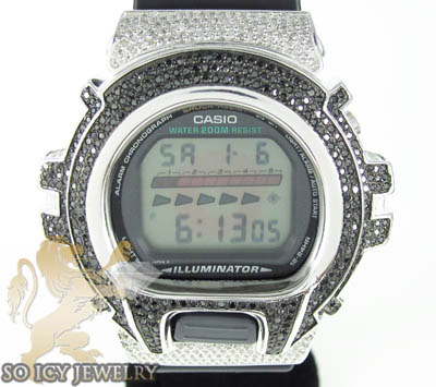 Mens diamond black g-shock watch 4.00ct