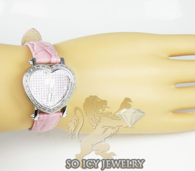 Ladies joe rodeo diamond watch pink mini heart 0.27ct