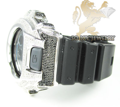 Mens diamond black & white g-shock watch 4.00ct