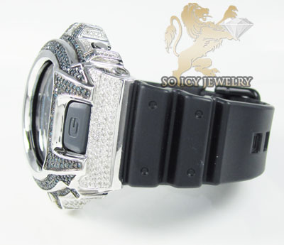 Mens diamond blue & white g-shock watch 4.00ct