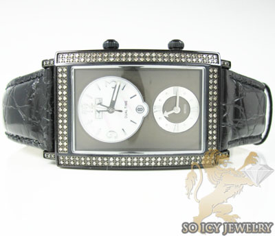 Mens diamond jojo dual time manhattan black watch 1.76ct