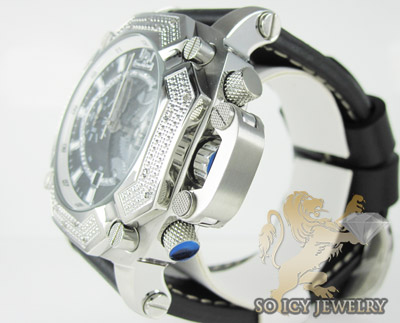 Mens diamond techno master black super xl watch 0.20ct