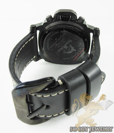Mens diamond techno master black stainless steel super xl watch 0.20ct