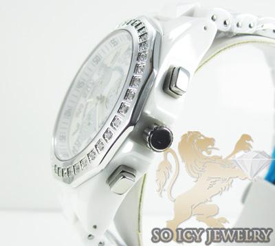 Mens techno master diamond white ceramic watch 1.00ct