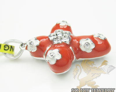 Diamond cross 14k white gold with red enamel flower 0.06ct