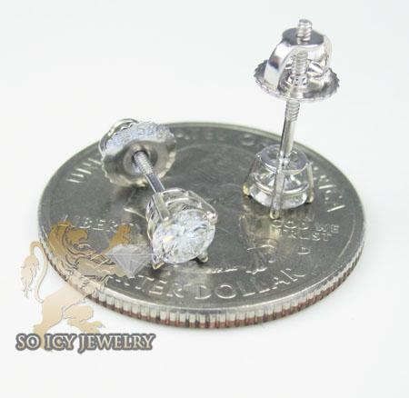 Unisex 14k white gold round diamond studs 0.67ct