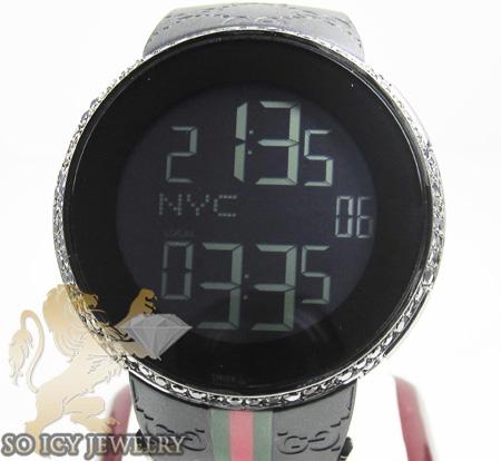 Mens black diamond igucci digital watch 2.00ct
