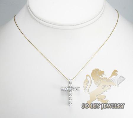 Ladies 18k white gold 11 stone diamond bezel cross 0.90ct