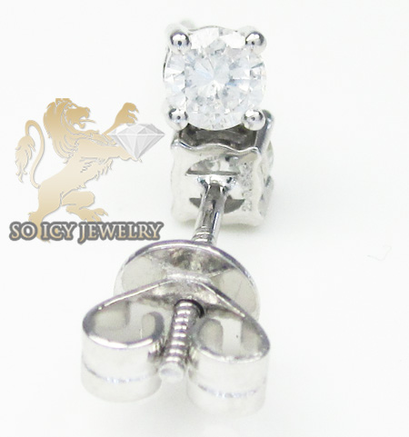 Unisex 14k white gold round cut diamond studs 0.58ct