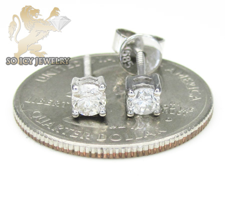 Unisex 14k white gold round cut diamond studs 0.51ct