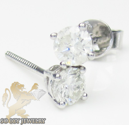 Unisex 14k white gold round cut diamond studs 0.93ct