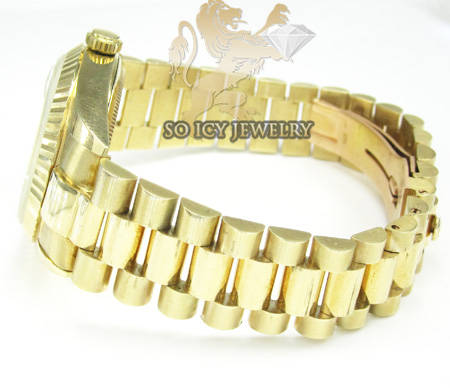 Mens 14k yellow gold geneve automatic watch