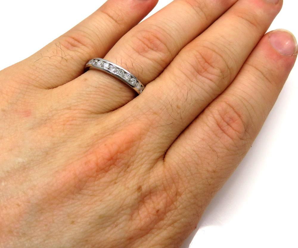 Mens 14k white gold round diamond band ring 1.00ct