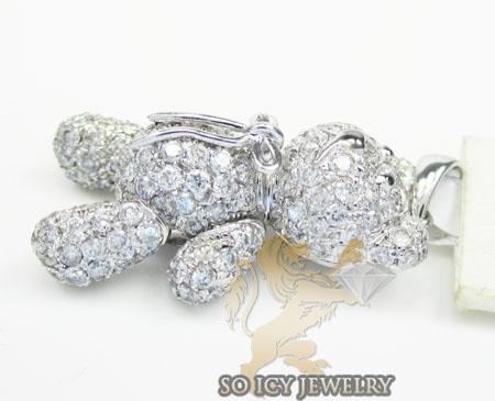 Teddy bear diamond 14k white gold pendant 1.90ct