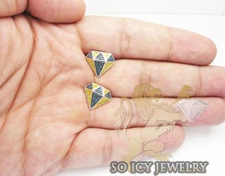 Unisex 14k white gold diamond pave diamond earrings 0.50ct