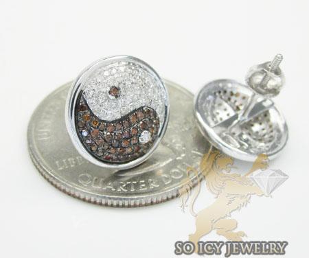 14k yellow gold diamond pave yin yang earrings 0.70ct