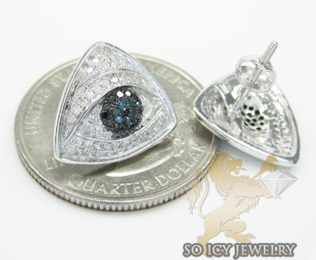 Unisex 10k white gold diamond evil eye earrings 0.55ct