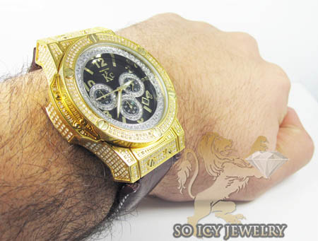 Techno com kc full diamond yellow steel case watch  3.50ct