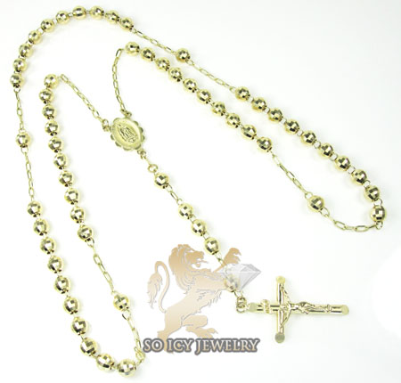 Rosary necklace 14k yellow gold diamond cut beads 30 inches 5.8 mm