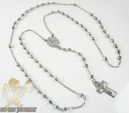 Rosary necklace 14k white gold diamond cut beads 29.50 inches 3.8 mm