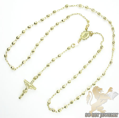 Rosary necklace 14k yellow gold diamond cut beads 20 inches 2.8mm