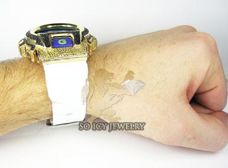 Mens yellow silver g-shock diamond light blue watch 4.00ct