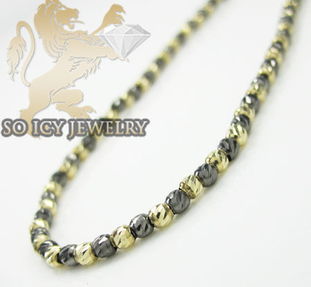 14k black & yellow gold diamond cut bead chain 16-24 inch 2mm