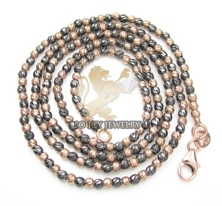 14k rose & black gold diamond cut bead chain 16-24 inch 2mm