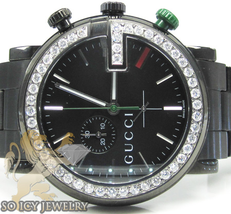 Diamond gucci chrono g watch black stainless steel 2.00 ct