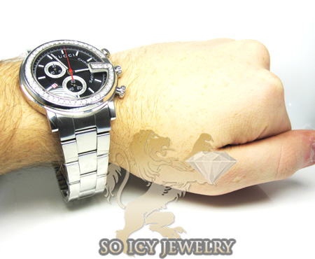 Diamond gucci chrono g watch white stainless steel 2.00 ct