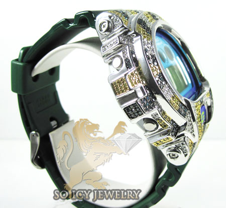 Mens multi color diamond g-shock watch 4.00ct