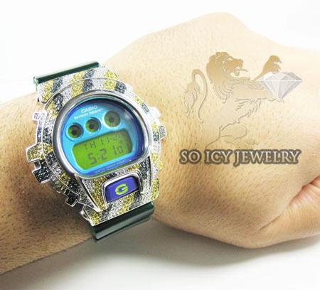 Mens multi color diamond g-shock watch 4.00ct