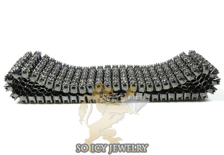 14k black gold black diamond 6 row bracelet 13.00ct