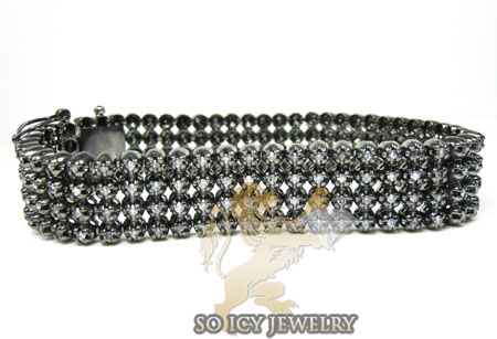 14k black gold diamond 4 row bracelet 4.50ct