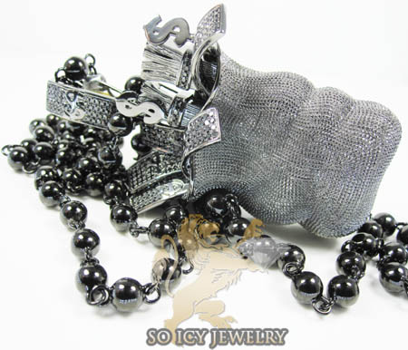 Mens 10k black gold diamond money bag pendant 2.00ct
