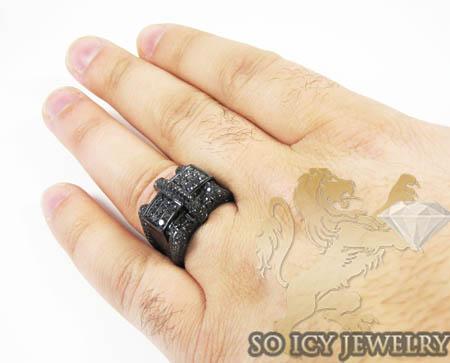 Mens 10k black gold black diamond ring 2.86ct