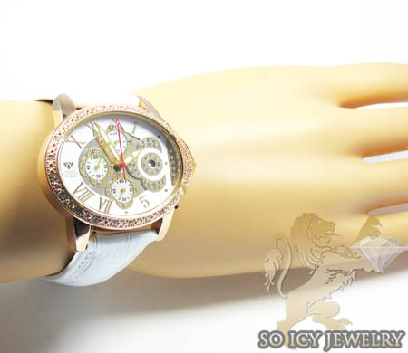 Ladies aqua master genuine diamond rose geneve watch 0.20ct