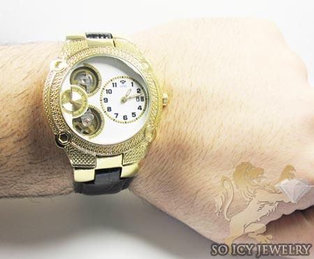Mens aqua master genuine diamond yellow tourbillon watch 0.20ct