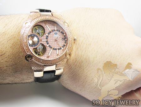 Mens aqua master genuine diamond rose tourbillon watch 0.20ct