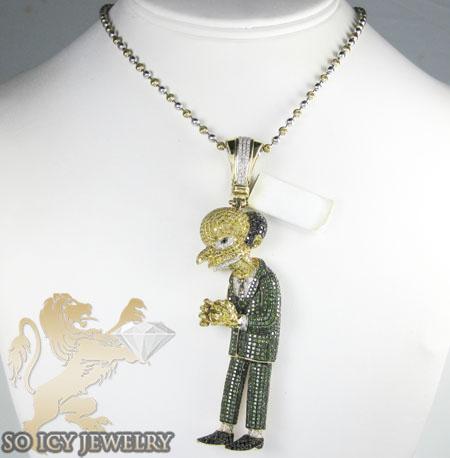 10k yellow gold diamond cartoon pendant 8.00ct