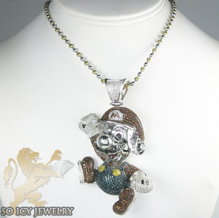 10k white gold diamond super mario pendant 10.15ct