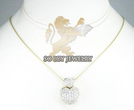 14k yellow gold diamond double heart & chain pendant 1.20ct