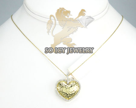 14k yellow metallic gold diamond heart pendant 0.32ct