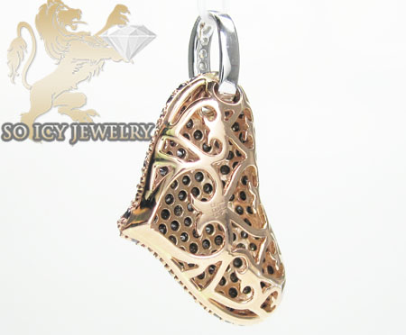 Ladies 14k rose gold black diamond heart pendant 2.34ct