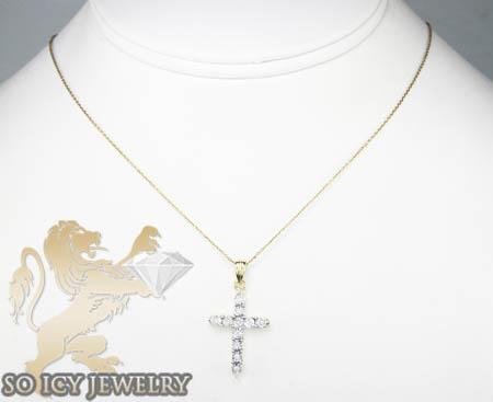 Ladies 14k yellow gold diamond cut bezel cross 0.17ct