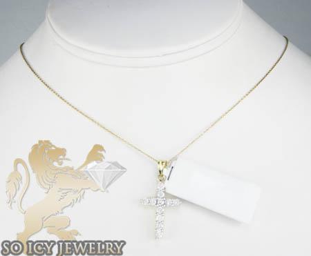 Ladies 14k yellow gold diamond cross 1.00ct