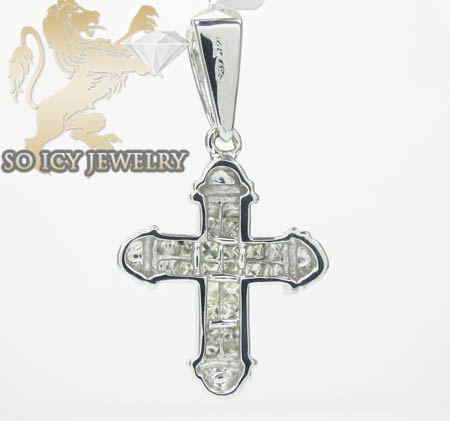 Ladies 14k white gold diamond princess invisible cross 0.75ct