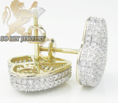 Ladies 10k yellow gold diamond pave heart earrings 1.25ct
