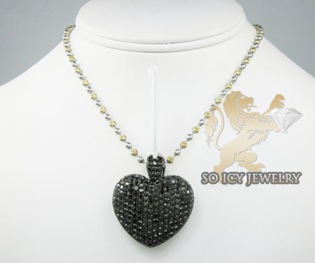 10k black gold round diamond heart pendant 7.29ct
