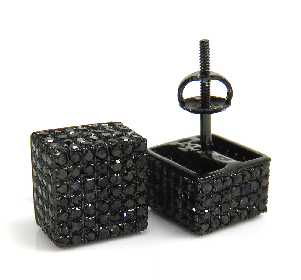 10k black gold black diamond pave earrings 1.78ct